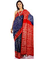 Blue and Red Bandhani Sari from Rajasthan