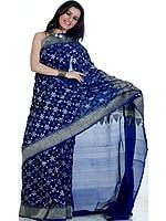 Blue Jamdani Sari from Banaras with All-Over Flowers Woven in Jute and Zari