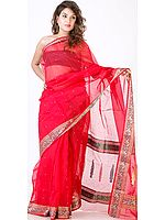 Bridal Red Chanderi Sari with Golden Bootis and Brocaded Border