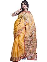 Buff-Orange Chanderi Sari with All-Over Bootis and Jaal Weave on Anchal