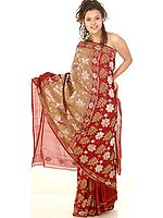 Burgundy Bridal Jamdani Floral Sari from Banaras with All-Over Jute and Zari Weave