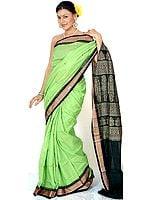 Chartreuse Bomkai Sari from Orissa with Rudraksha Border