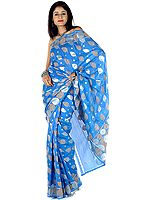 Azure Sari from Banaras with Leaves Woven in Khadi