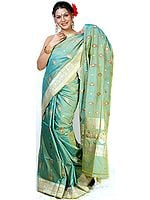 Jade-Green Sari from Banaras with All-Over Bootis Woven in Jute and Zari