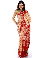 Ivory Batik Sari with Red Anchal and Border