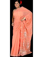 Coral Lukhnavi Chikan Sari with Embroidered Paisleys
