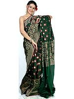 Dark-Green Designer Jamdani Sari from Banaras with All-Over Golden and Jute Thread Weave
