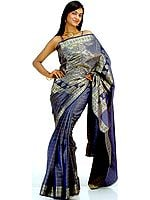 Deep Blue Banarasi Sari with Tanchoi Weave