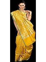 Golden Mustard Jamdani Sari from Banaras with Woven Flowers All-Over