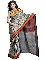 Gray Handloom Sari from Banaras with All-Over Geometric Weave and Plain Borders