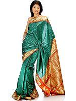 Green and Rust Sari with Krishna's Gita Updesha Woven on Border