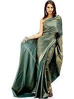 Green Banarasi Jamawar Sari with Tanchoi Weave
