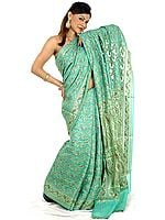 Green Paisley Jamdani Sari Hand-Woven in Banaras