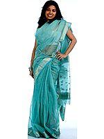 Green Tissue Chanderi Sari with Golden Thread Weave