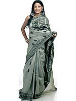 Hand-Woven Gray Baluchari Sari from Kolkata