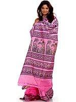 Hand-Woven Pink Baluchari Sari Depicting Krishna's Gita Updesha to Arjuna