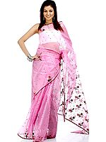 Hot Pink Floral Chanderi Sari with All-Over Bootis