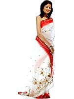 Ivory and Red Georgette Sari with Beads and Sequins