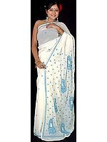 Ivory Lukhnavi Chikan Sari with Embroidered Paisleys and All-Over Bootis