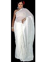 Ivory Sari with Sequins Embroidered as Flowers