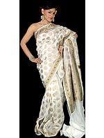 Ivory Wedding Sari from Banaras with Jamawar Border and Anchal