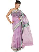 Lavender Chanderi Sari with Golden Bootis and Brocaded Border