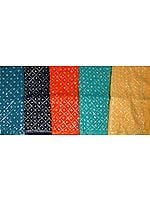Lot of Five Saris with Sequins and Beads