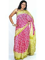 Magenta and Lime Bandhani Sari from Rajasthan