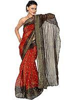 Maroon and Black Gajji Silk Sari