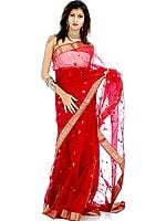 Maroon Chanderi Sari with All-Over Thread Weave and Bootis