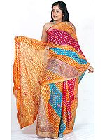 Multi-Color Bandhani Silk Sari from Rajasthan with Mirrors