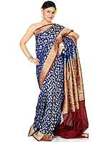 Navy-Blue Jamdani Sari from Banaras with All-Over Embroidered Sequins