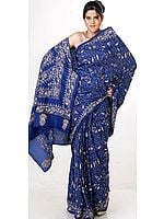 Navy-Blue Kantha Sari with All-Over Embroidery by Hand