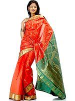 Orange and Green Sari with Yashoda Krishna Woven on Border