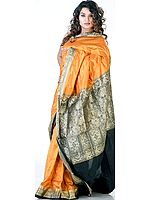 Orange Coimbatore Sari with Golden Zari Bootis and Pallu