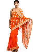 Orange Sari from Banaras with Bootis Woven All-Over and Brocaded Pallu