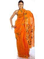 Orange Tengail Sari from Calcutta with Floral Weave