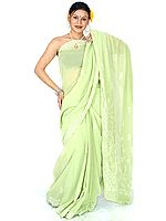 Pale-Green Lukhnavi Chikan Sari with Sequins