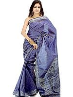 Persian Blue Banarasi Jamawar Sari with Silver Tanchoi Weave
