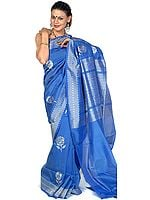Persian Blue Banarasi Sari with Flowers Woven in Silver Thread