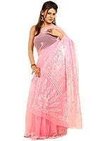 Pink Sari with Lukhnavi Chikan Embroidery and Beadwork