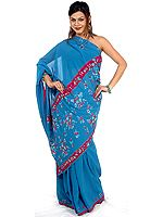 Plain Blue Sari with Embroidered Sequins and Purple Border