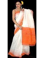 Plain Ivory and Orange Narayanpet Sari with Ikat Weave on Anchal-Border