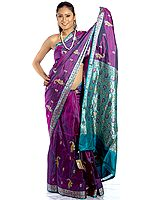 Purple Banarasi Sari with Embroidered Paisleys and Brocaded Anchal
