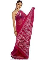 Purple Sari with Lukhnavi Chikan Embroidery