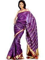 Purple Sari with Yashoda Krishna Woven on Border