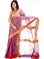 Purple Tissue Chanderi Sari with Golden Thread Weave