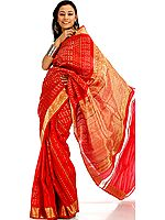 Red Bridal Sari Handwoven in Bangalore with Heavy Zardozi on Border and Pallu