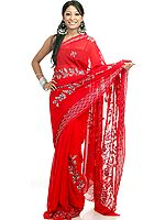 Red Georgette Sari with Sequins and Beads All-Over