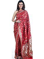 Red Jamdani Wedding Banarasi Sari with All-Over Handwoven Flowers